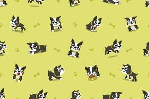 Vector cartoon character boston terrier dog seamless pattern