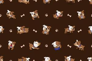 Vector cartoon character bulldog seamless pattern