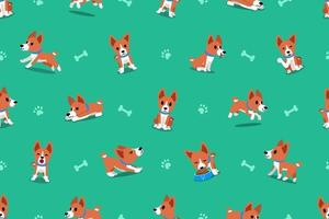 Vector cartoon basenji dog seamless pattern
