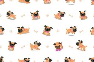 Vector cartoon character pug dog seamless pattern