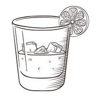 Hand Drawn Whiskey or Soda with Ice and Lemon Slice Isolated Black and White vintage Engraving vector