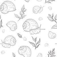 Hand Drawn Garden Snail with Floral Elements Engraved Seamless Pattern in Vintage Style vector