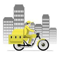 Food delivery man uses yellow custom courier motorcycle with box delivering food to customer vector