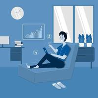 Happy person gets money from stock trading from home flat illustration vector