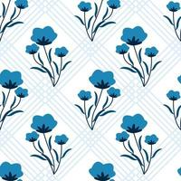 Seamless pattern with blue flowers and geometric background vector