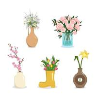 Cute spring and summer flowers in a vase Bouquets of daisies peonies tulips daffodils sakura and cherry blossoms International Women Day decoration and gift Plant shop vector