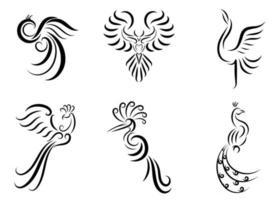 conjunto de seis imágenes vectoriales de arte lineal de varias aves hermosas como el faisán, la grúa pavo real, el fénix y el águila, buen uso para el símbolo, el icono de la mascota, el avatar y el logotipo vector