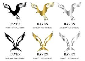 Set of six vector images of various reven flying symbol There are three colors black gold silver Good use for symbol mascot icon avatar and logo