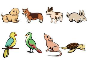 Vector illustration cartoon of eight different pet animals with puppy dog rabbit parrot bird mouse and turtle