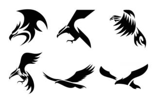 Set of six line art vector logo of eagle Can be used as a logo Or decorative items