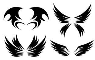 Conjunto de diseño de logotipo de alas de animal negro ilustración vectorial adecuado para marca o símbolo vector