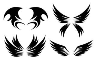 set of black animal wings logo design vector illustration suitable for branding or symbol