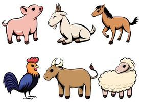Set of six line art cartoon vector images of various farm animal There are pigs goats horses chickens cows and sheep