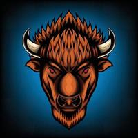 Vector Illustration front view of American Bison Buffalo Good use for symbol mascot icon avatar tattoo T Shirt design logo or any design