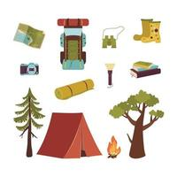 Big set of tourist items for vacation. Luggage icons for travel and hike. A collection of objects and accessories for outdoor recreation and journey around the world. Vector flat illustration