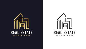 Luxury Gold Real Estate Logo Building Property Development Architecture and Construction Logo vector