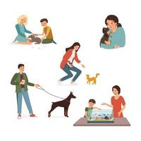 Set of illustration with happy pet owners. Children play with a rabbit, a girl hugs a puppy, a man walks the dog, mom and son feed the fish, a woman strokes a cat. Vector illustration