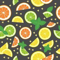 Lemon, Mandarin, lime slices, mint leaves, ginger slices. Seamless bright pattern on a white background. A set of citrus fruits for a healthy lifestyle. Vector flat illustration of useful food