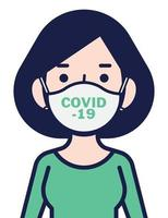 Woman in white medical face mask to protect herself against coronavirus vector