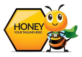 Cute bee with green cloak stand beside big honeycomb shape signage vector