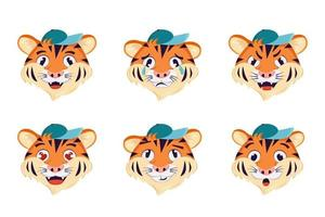 A set of tiger with different emotions. Cheerful, sad or angry symbol of the year. Wild animals of africa. Vector cartoon illustration