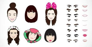 Faces cartoon character creation set vector