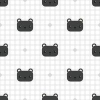 lindo, pantera negra, cabeza, caricatura, garabato, seamless, patrón vector