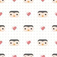 Cute penguin head cartoon doodle seamless pattern vector