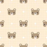 lindo, oso de peluche, cabeza, caricatura, garabato, seamless, patrón vector