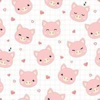 Cute pig head cartoon doodle seamless pattern vector