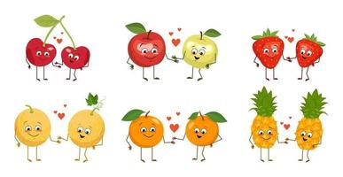 Set of cute characters of fruits and berries with emotions, faces, arms and legs. Happy people in love hold hands and smile. Vector flat illustration