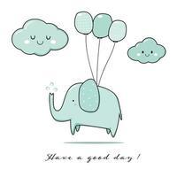 lindo, elefante, saludo, caricatura, garabato vector