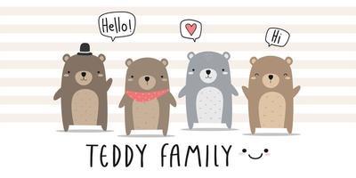 lindo, oso de peluche, familia, saludo, caricatura, garabato vector