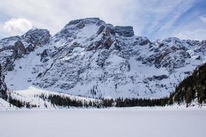 Peaks of the Dolomites covered with snow photo