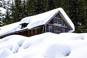 Wooden shed with snow photo