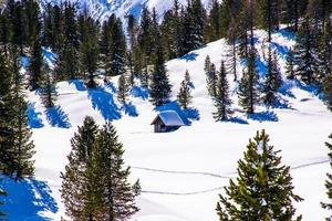 Old hut in the snow photo