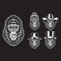 personajes de fumar cabeza de gorila en negro vector