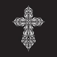 Ornamented Gothic Cross On Black vector