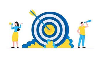 Teamwork concept with tiny people characters working together with big target and tiny people characters vector