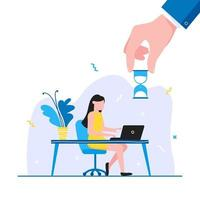 Time management business concept template Woman sitting near the table and working on laptop vector