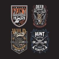 Colección de camisetas gráficas de caza en negro. vector