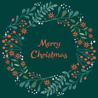 tarjeta de navidad con corona de bayas y hojas vector