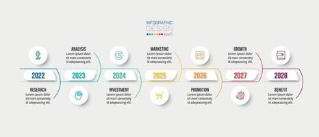 Timeline chart business infographic template vector