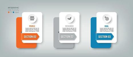 Infographic business template with 3 step or option design vector