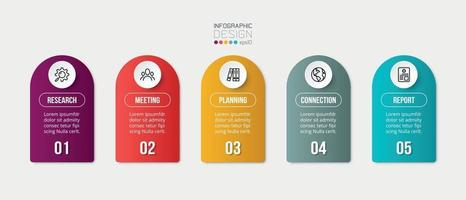 Infographic business template with 5 step or option design vector