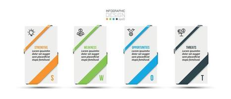 swot analysis business or marketing  infographic template vector