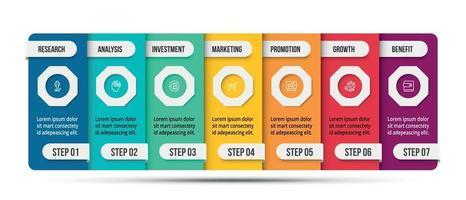 Plantilla de negocio infográfico con diseño de opciones o 7 pasos. vector