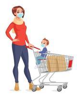 Madre e hijo en máscaras faciales con ilustración de vector de dibujos animados de carrito de compras