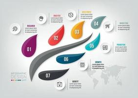 Infographic business template with 7 step or option design vector