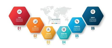 Infographic business template with 6 step or option design vector